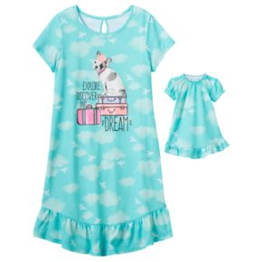 "Girls 4-16 SO® ""Explore Discover and Dream"" Dorm Nightgown & Doll Gown Set"
