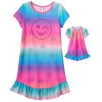 Girls 4-16 SO® Smiley Face Dorm Nightgown & Doll Gown Set
