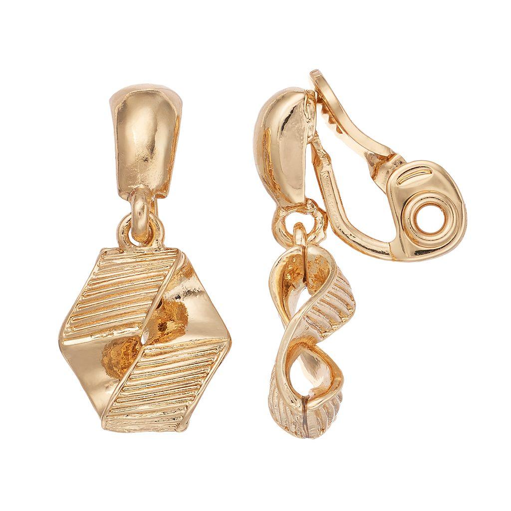 Napier Textured Geometric Clip On Earrings