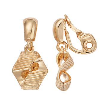 Napier Textured Geometric Clip On Earrings