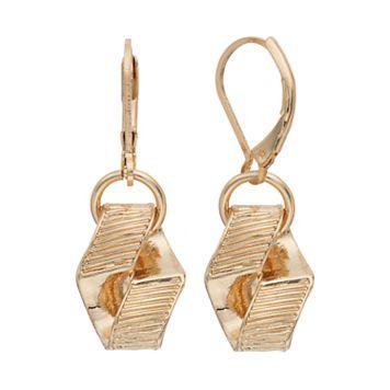 Napier Textured Hexagon Drop Earrings