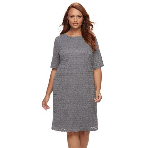 Plus Size Suite 7 Burnout Shift Dress