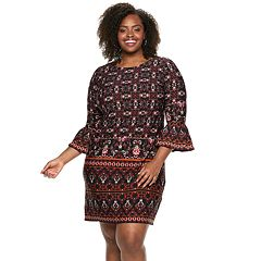 Plus Size Suite 7 Ruffle Sleeve Shift Dress