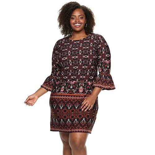 Plus Size Suite 7 Ruffle Sleeve Shift Dress