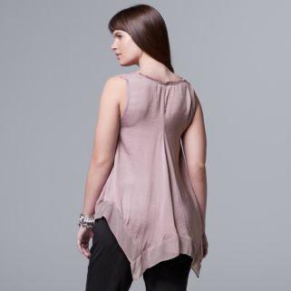 Plus Size Simply Vera Vera Wang Handkerchief Tank