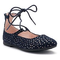 SO® Caroline Girls' Lace-Up Flats