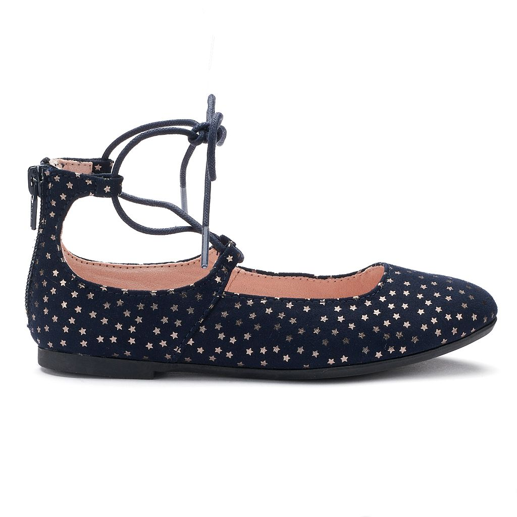 SO® Caroline Girls' Lace-Up Flats