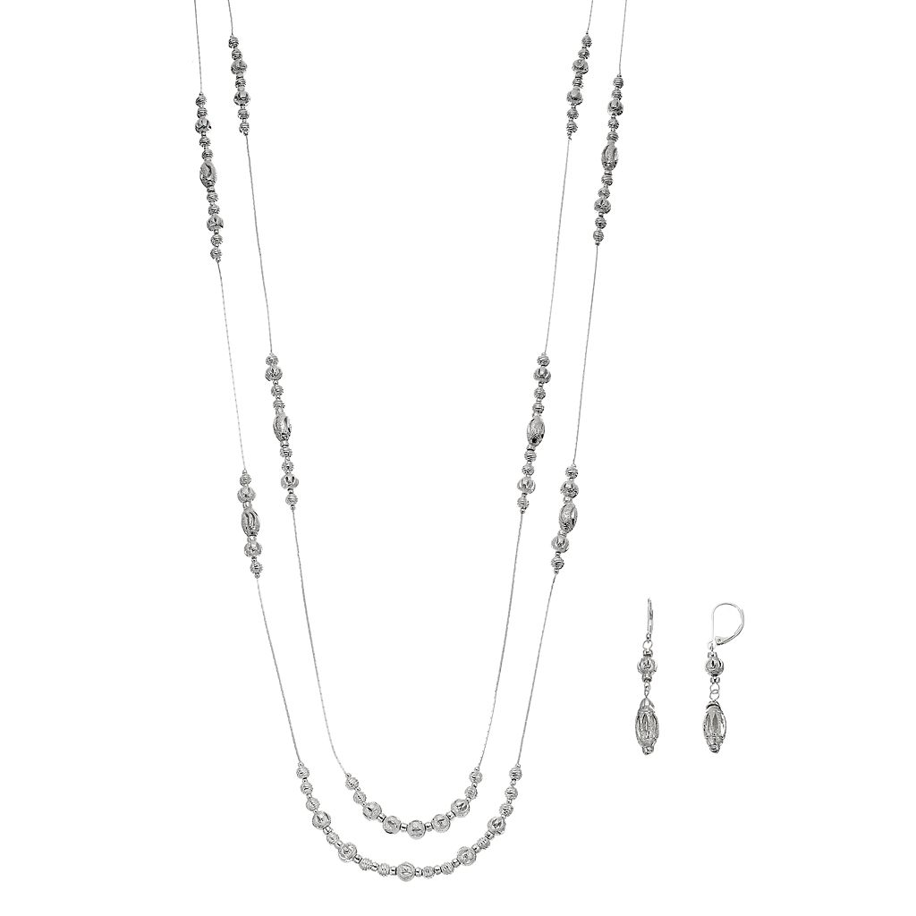Napier Beaded Long Double Strand Necklace & Drop Earring Set