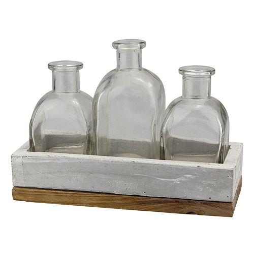 Stonebriar Collection Glass Bottle & Tray Table Decor 4-piece Set