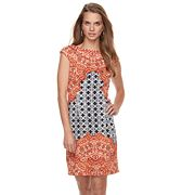 Petite Suite 7 Print Cap Sleeve Sheath Dress