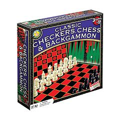 Classic Checkers, Chess & Backgammon Game Set by Endless Games