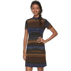 Petite Suite 7 Abstract Striped T-Shirt Dress