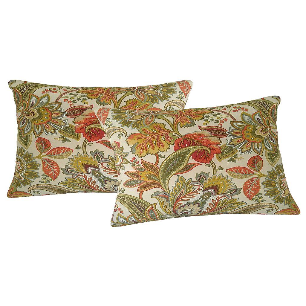 Metje Valbella Floral Indoor Outdoor 2-piece Reversible Oblong Throw Pillow Set