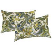 Metje Valbella Floral Indoor Outdoor 2 pc Reversible Oblong Throw Pillow Set