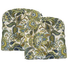Metje Valbella Floral Indoor Outdoor 2-piece Reversible Seat Pad Cushion Set