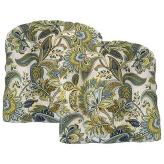 Metje Valbella Floral Indoor Outdoor 2-piece Reversible Seat Pad Cushion Set