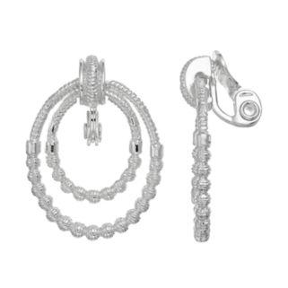 Napier Textured Double Hoop Clip On Earrings