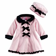 Baby Girl Sophie Rose Ruffles & Bows Fleece Coat with Hat