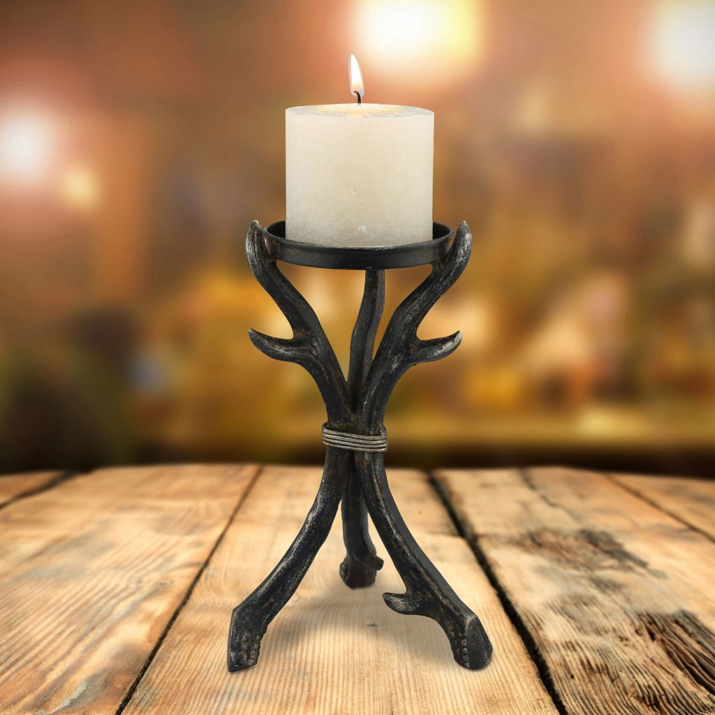 Stonebriar Collection Metal Antler Pillar Candle Holder
