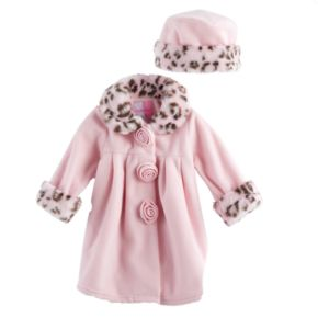 Baby Girls Sophie Rose Microfleece Coat & Hat Set