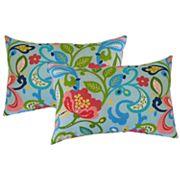 Metje Wildwood Floral Indoor Outdoor 2 pc Reversible Oblong Throw Pillow Set