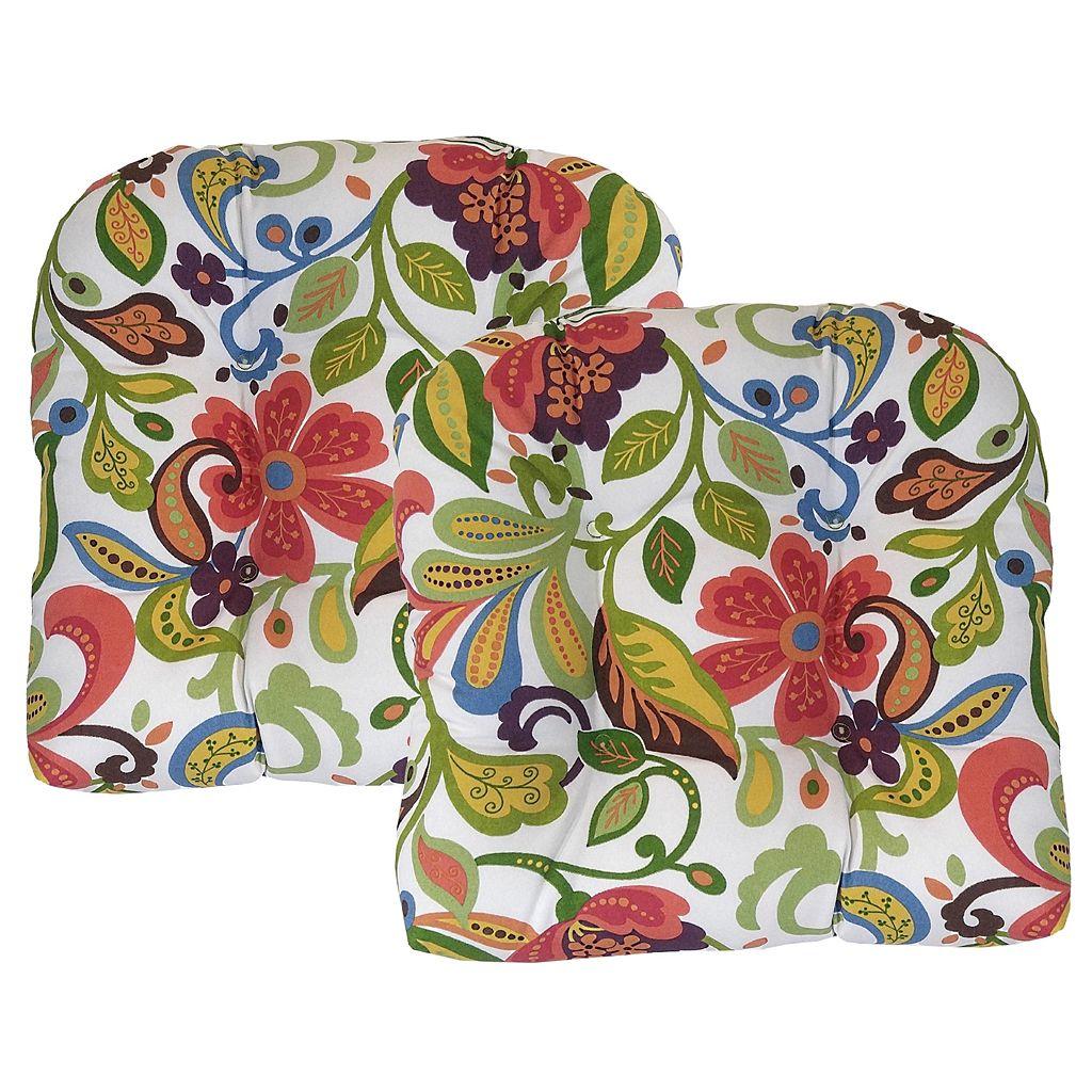 Metje Wildwood Floral Indoor Outdoor 2-piece Reversible Seat Pad Cushion Set