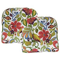 Metje Wildwood Floral Indoor Outdoor 2-piece Reversible Seat Pad Cushion Set