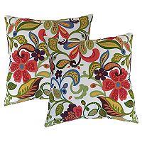 Metje Wildwood Floral Indoor Outdoor 2 pc Reversible Throw Pillow Set