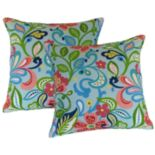 Metje Wildwood Floral Indoor Outdoor 2-piece Reversible Throw Pillow Set