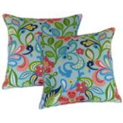 Metje Wildwood Floral Indoor Outdoor 2-piece Reversible Throw Pillow Set