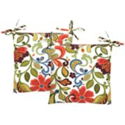 Metje Wildwood Floral Indoor Outdoor 2-piece Reversible Chair Cushion Set