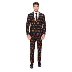 Men's OppoSuits Slim-Fit Black-O Jack-O Suit & Tie Set