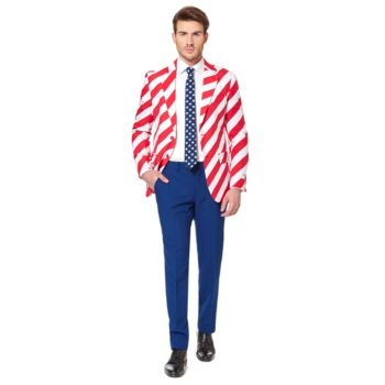 Men's OppoSuits Slim-Fit United Stripes Suit & Tie Set