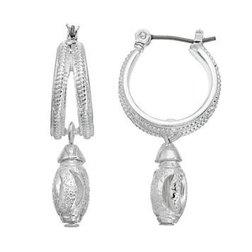 Napier Textured Double Hoop Earrings