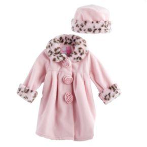 Toddler Girls Sophie Rose Microfleece Coat & Hat Set