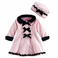 Toddler Girl Sophie Rose Ruffles & Bows Fleece Coat with Hat