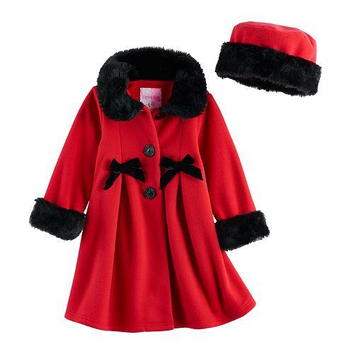 Toddler Girl Sophie Rose Bow Microfleece Coat & Hat Set
