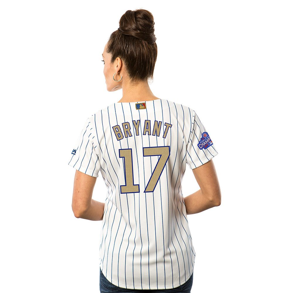 f863757e4 ... Womens Majestic Chicago Cubs Kris Bryant 2016 World Series Champions  Gold Program Cool Base Replica Jersey ...