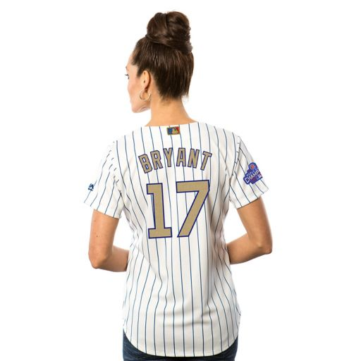 Women's Majestic Chicago Cubs Kris Bryant 2016 World Series Champions Gold Program Cool Base Replica Jersey