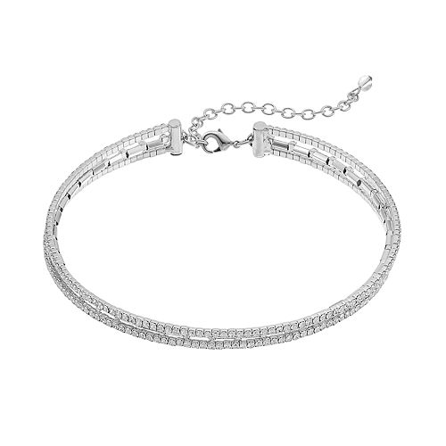 Napier Multi Strand Simulated Crystal Choker Necklace