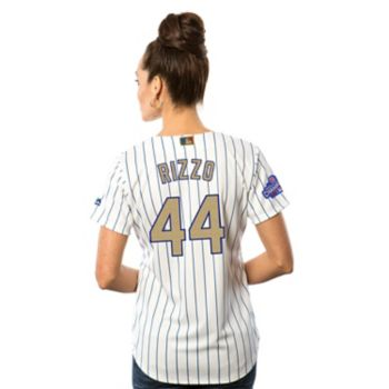 Women's Majestic Chicago Cubs Anthony Rizzo 2016 World Series Champions Gold Program Cool Base Replica Jersey