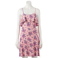 Juniors' Pink Republic Double Ruffle Skater Dress