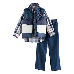 Boys 4-7 Nannette 3 pc Vest, Plaid Shirt & Jeans Set