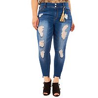 Juniors' Plus Size Wallflower Step Hem Ripped Skinny Jeans