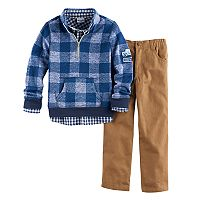 Boys 4-7 Nannette 3 pc Buffalo Check Pullover Hoodie, Plaid Shirt & Pants Set