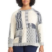 Plus Size Chaps Patchwork Crewneck Sweater