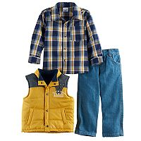 Boys 4-7 Nannette 3 pc Plaid Shirt, Vest & Jeans Set