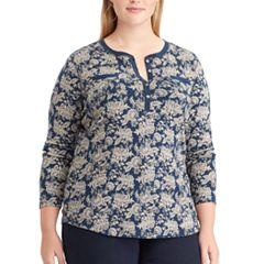 Plus Size Chaps Floral Henley