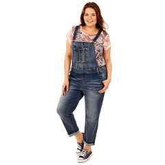 Juniors' Plus Size Wallflower Faded Jean Overalls