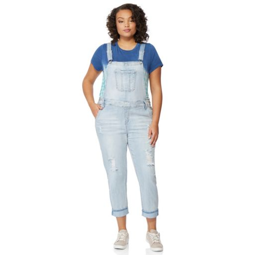 Juniors' Plus Size Wallflower Faded Jean Overalls